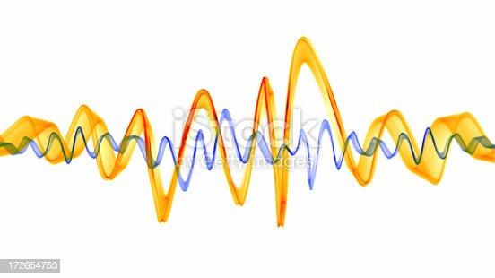 istock Orange & Blue Sound Waves 172654753