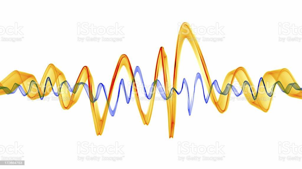 Orange & Blue Sound Waves stock photo
