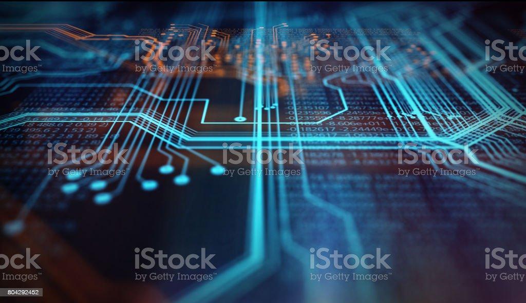 Orange,  blue technology background royalty-free stock photo