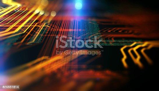 istock Orange,  blue technology background 820551814