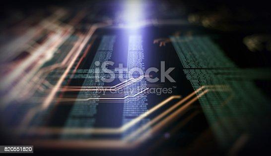 istock Orange,  blue technology background 820551820