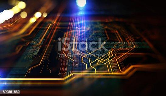 istock Orange,  blue technology background 820551830