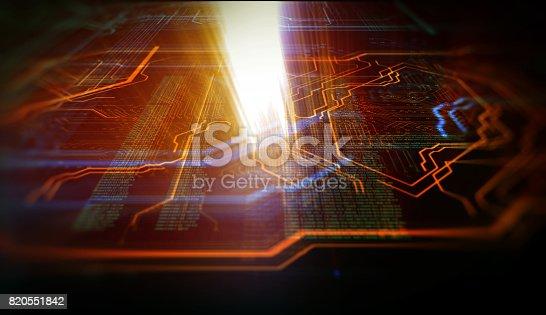istock Orange,  blue technology background 820551842