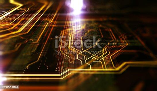 istock Orange,  blue technology background 820551844