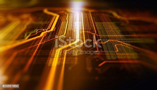 istock Orange,  blue technology background 820551850
