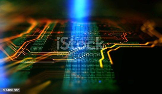 istock Orange,  blue technology background 820551852