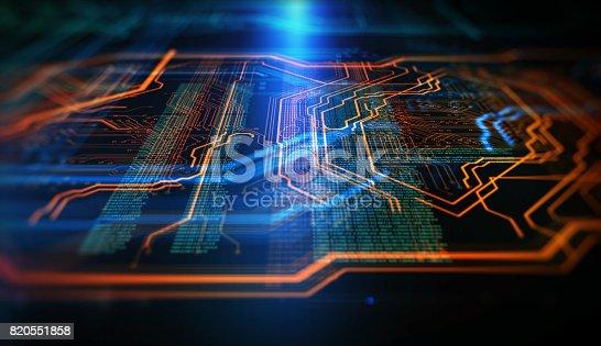 istock Orange,  blue technology background 820551858