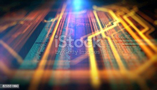 istock Orange,  blue technology background 820551860