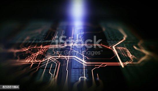 istock Orange,  blue technology background 820551864