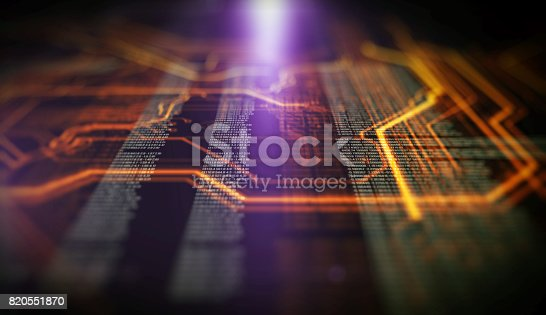 istock Orange,  blue technology background 820551870