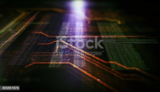 istock Orange,  blue technology background 820551876