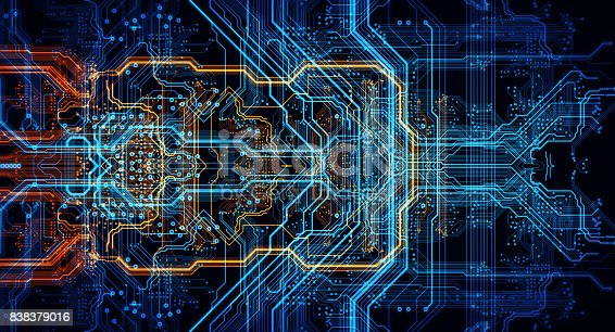 Circuit board futuristic server code processing. Orange,  green, blue technology background with bokeh. 3d Illustration.