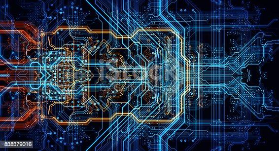 istock Orange,  blue technology background 838379016