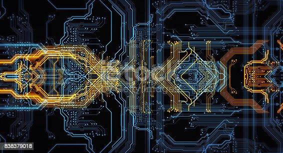 istock Orange,  blue technology background 838379018