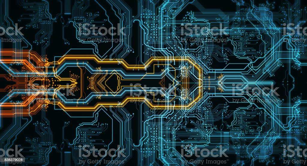 Orange,  blue technology background stock photo