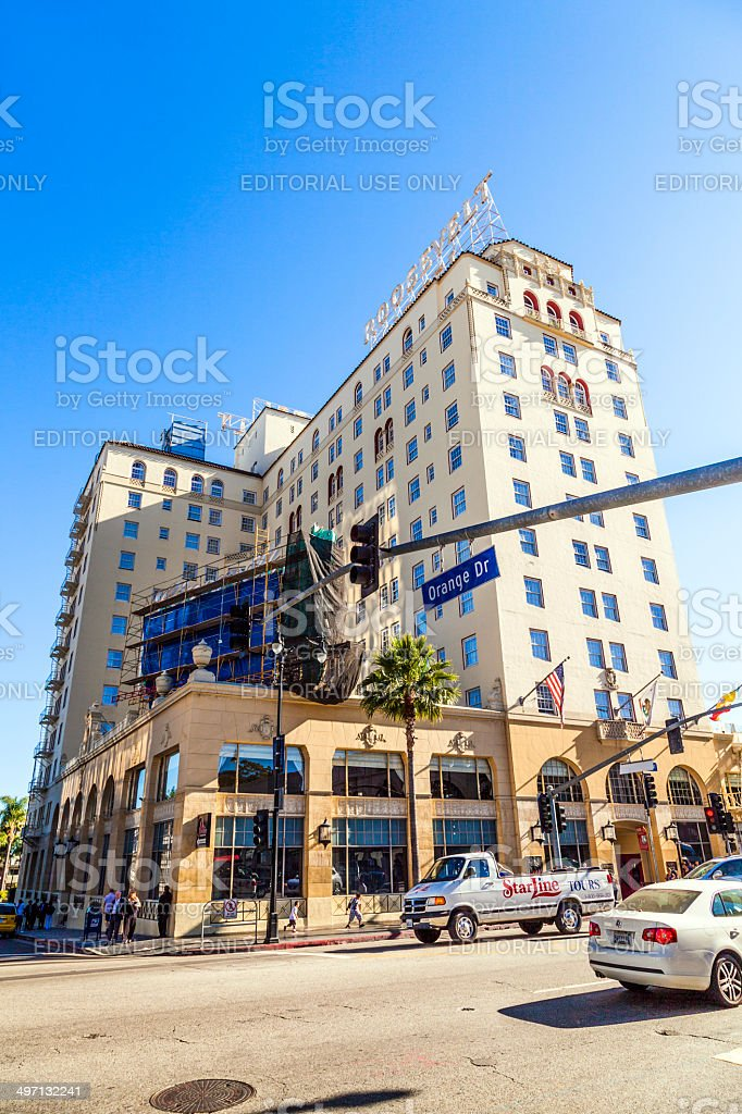 Orange Blvd street sign in Hollywood with roosevelt hotel stock photo