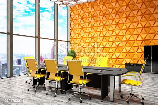 Cozy style office with Geometric Orange wall