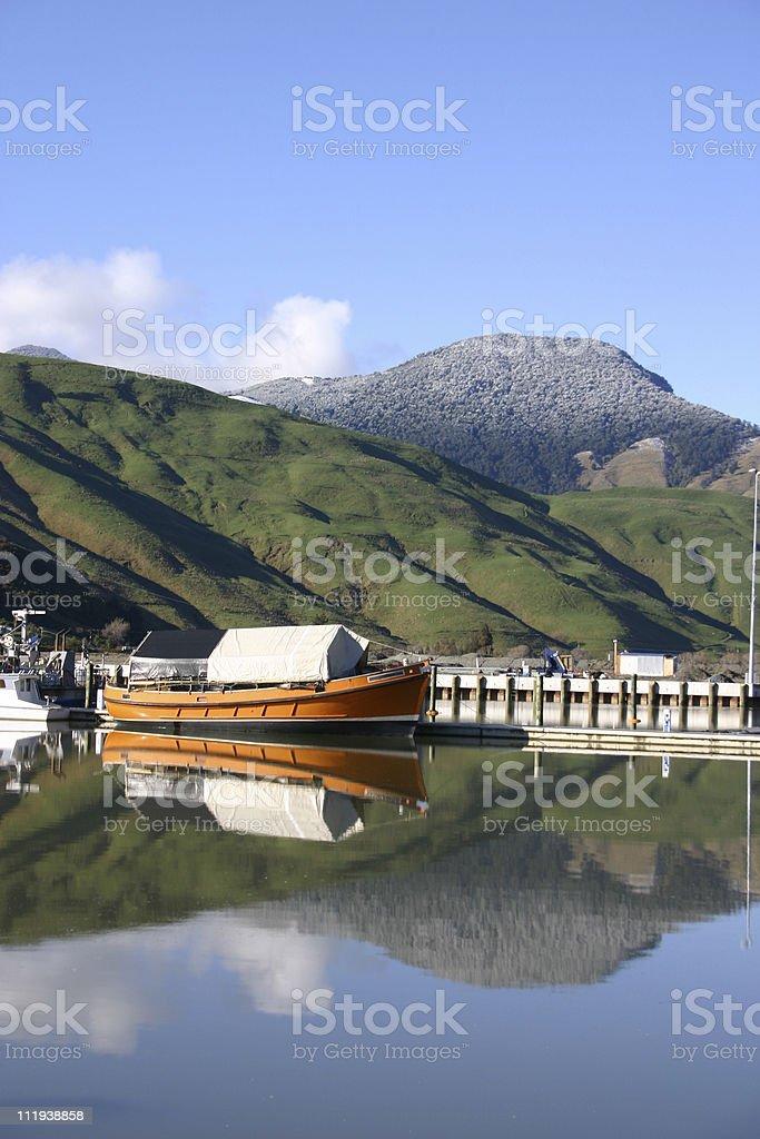 orange boat - New Zealand royalty-free stock photo