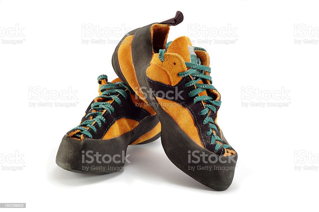 Orange boots for climbing extreme sport royalty-free stock photo