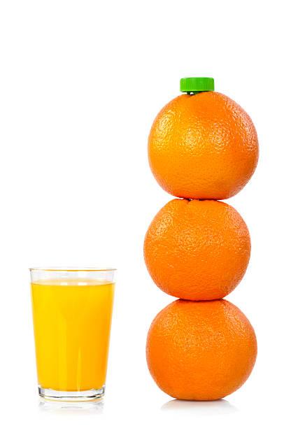 bottiglia di succo d'arancia con - fruit juice bottle isolated foto e immagini stock