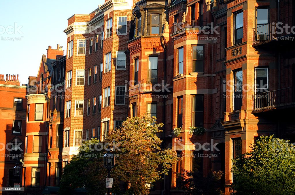 Orange brick buildings at Back Bay, Boston stock photo