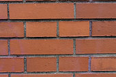 orange brick wall with horizontal and vertical lines close up