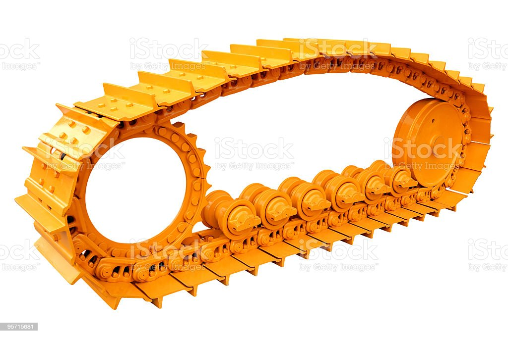 Orange bulldozer caterpillar stock photo