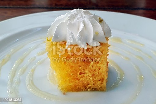 Served with cream at the top