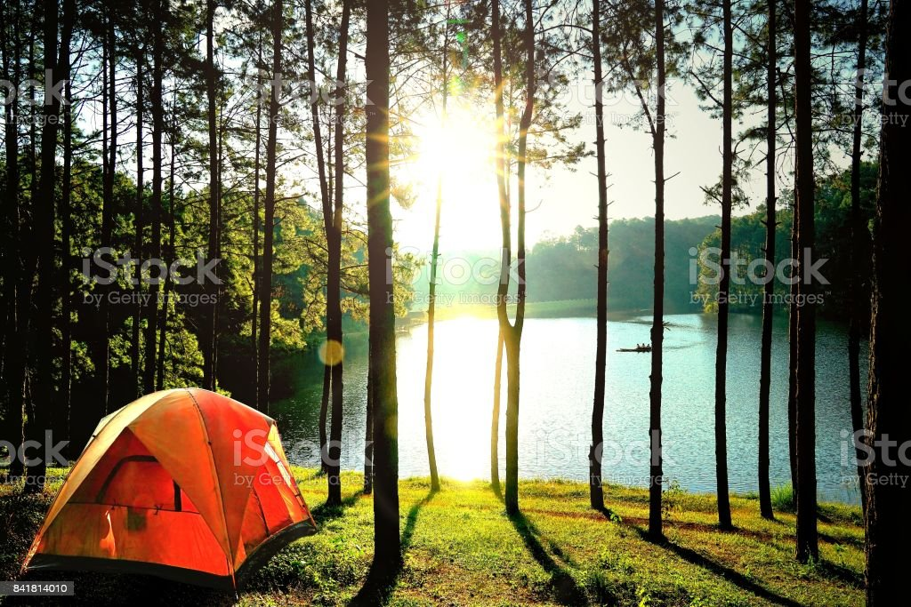 Orange camping Zelte im Kiefernwald am See am Pang Oung See (Pang Tong Reservoir), Mae Hong Son, Thailand. - Lizenzfrei Abenteuer Stock-Foto