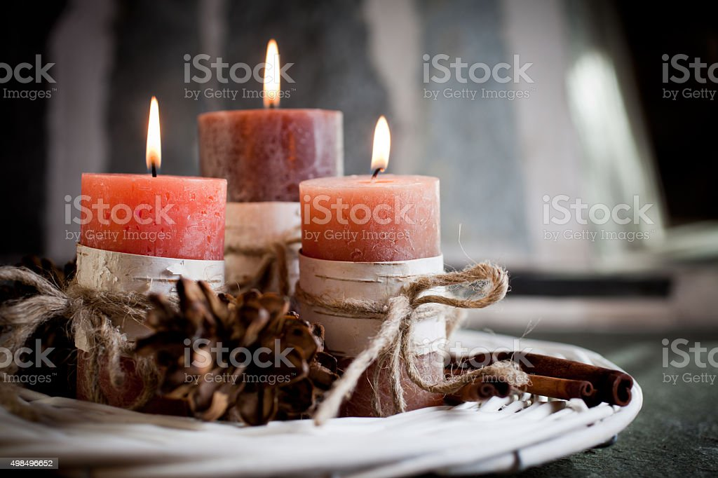 Orange candles stock photo