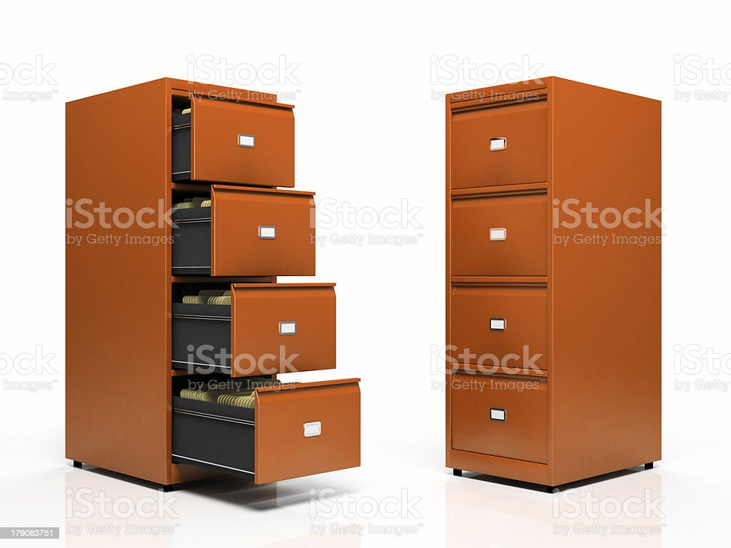 Orange card files isolated on white background royalty-free stock photo