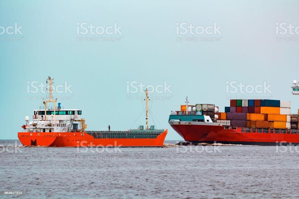 Orange cargo ship royalty-free stock photo