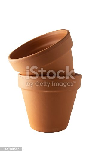 Orange Ceramic Pot On White Background.