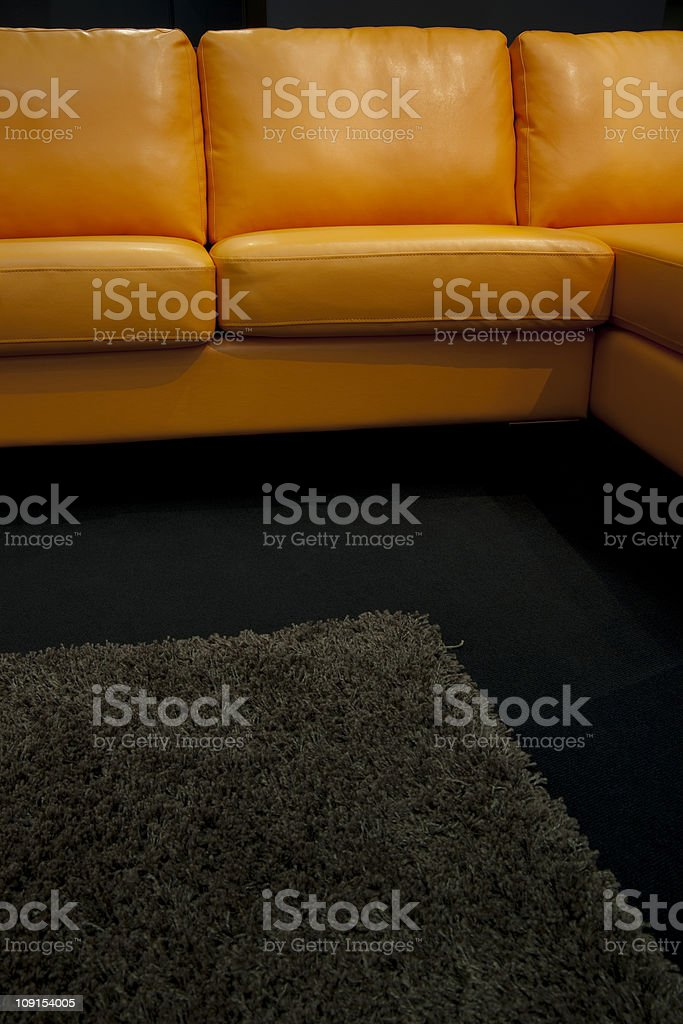 Orange Chairs and Black Carpet in a Modern Interior royalty-free stock photo