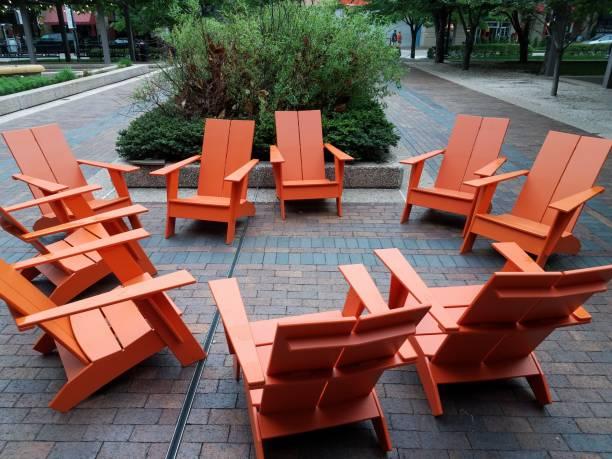 orange chairs outdoor stock photo