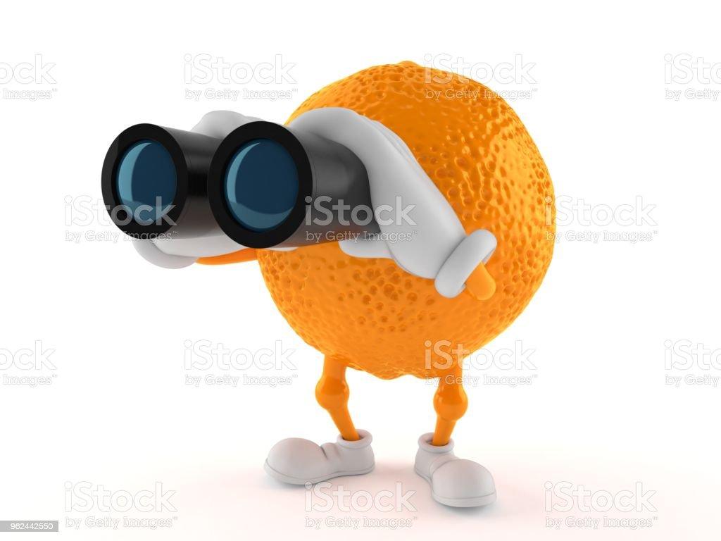Orange character looking through binoculars stock photo