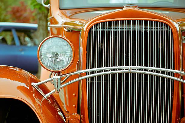 Orange Chevy Street Rod Automobile stock photo