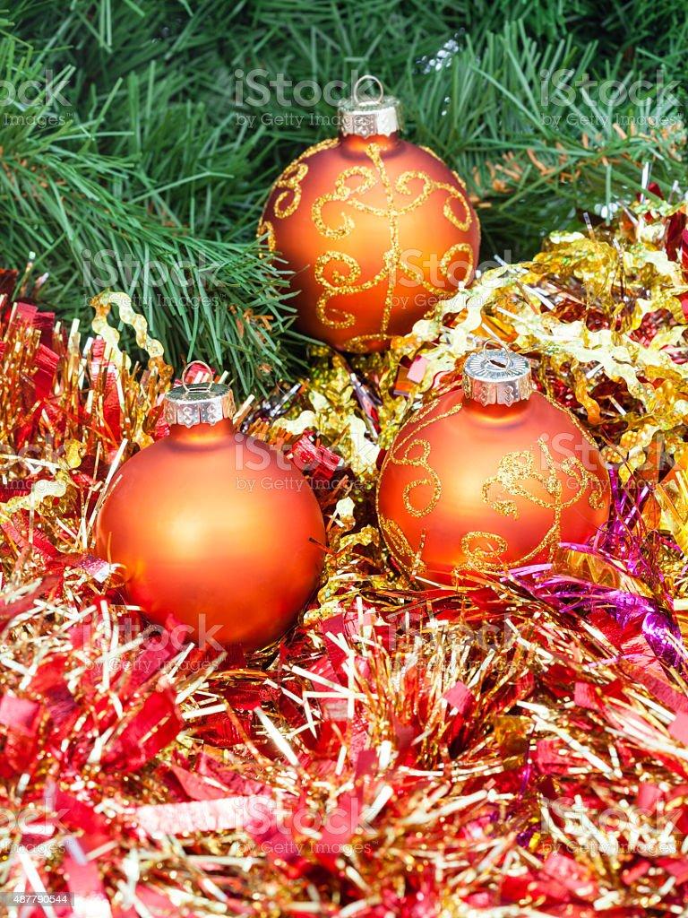 Orange Christmas Balls Red Tinsel On Xmas Tree 7 Stock Photo More