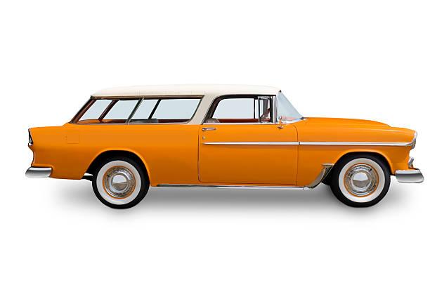 orange chrvrolet nomad wagon - kombi stock-fotos und bilder