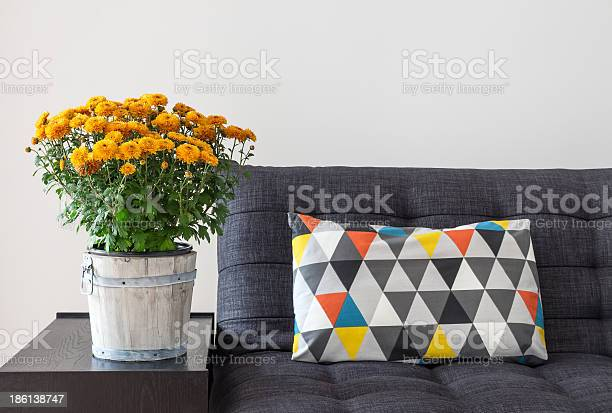 Photo of Orange chrysanthemums and bright cushion on a sofa
