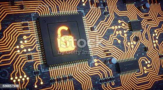 istock Orange Circuit Board With Security Padlock 536657948