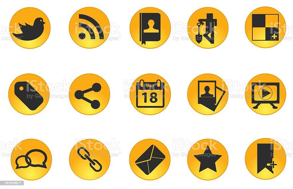 Orange circular social media icon set stock photo