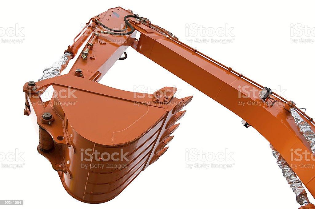 Orange clear excavator bucket beam royalty-free stock photo