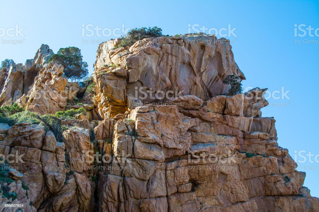 Orange cliff in Sardinia royalty-free stock photo