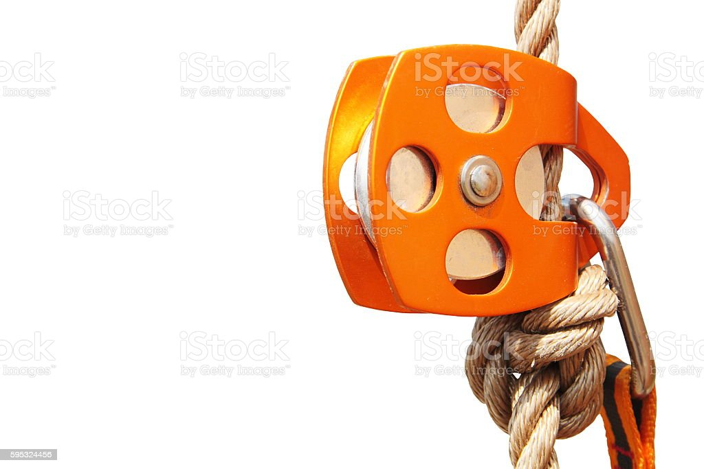 Orange Climbing Pulley with rope and carabiner (isolated) stock photo
