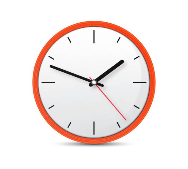 oranje klok op een geïsoleerde witte achtergrond stockfoto - zandloper icoon stockfoto's en -beelden