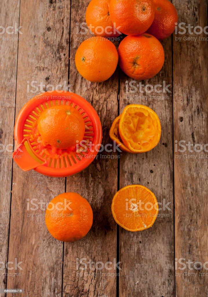 orange close up on wood royalty-free 스톡 사진