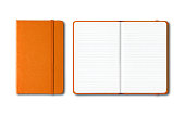 istock Orange closed and open lined notebooks isolated on white 1211359490