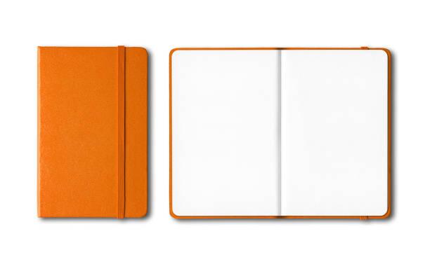 pomarańczowe zamknięte i otwarte zeszyty odizolowane na białym - notes zdjęcia i obrazy z banku zdjęć