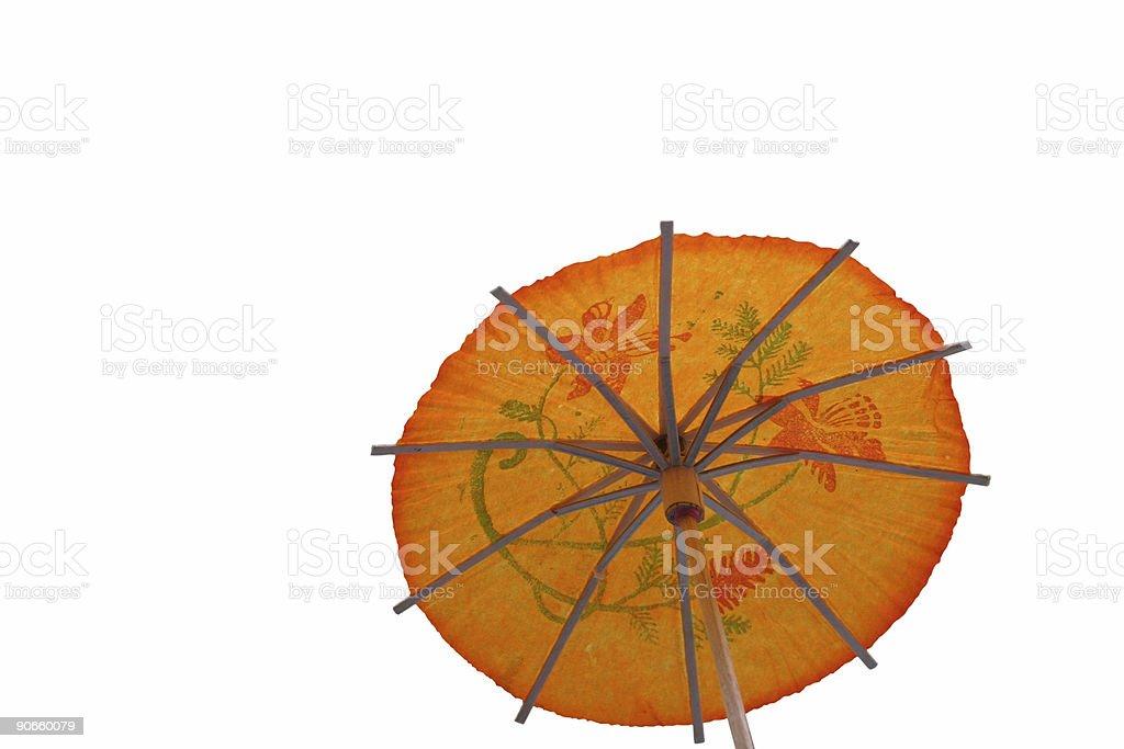 orange cocktail umbrella #4 - isolated royalty-free stock photo